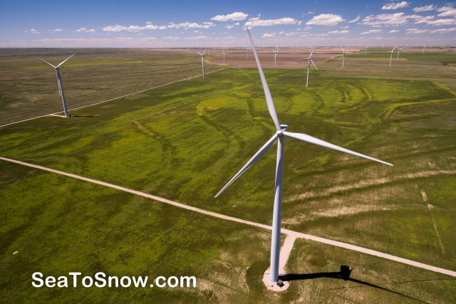 Wind farm on Colorado's Eastern Plains. Let us now praise the airfoil.