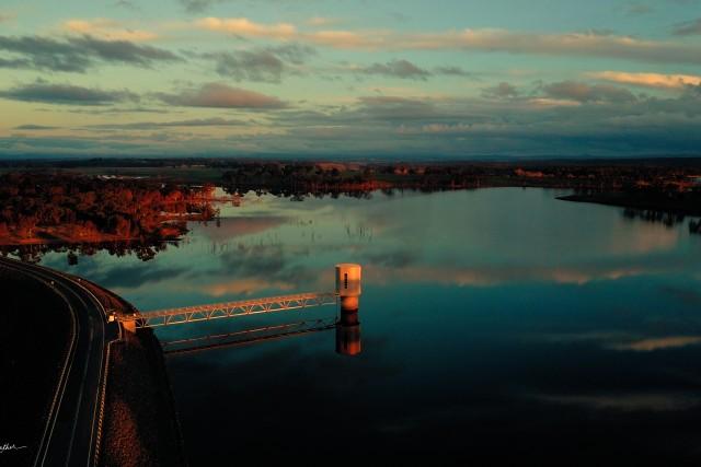 Lake Eppalock Weir at Sunset