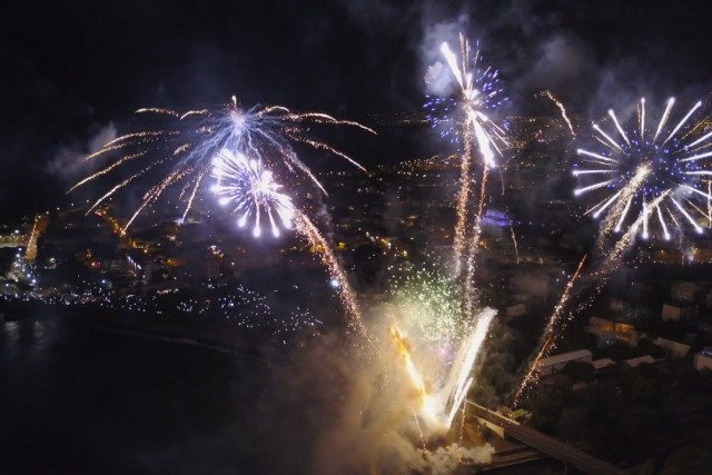 Drone fly over National Day fireworks