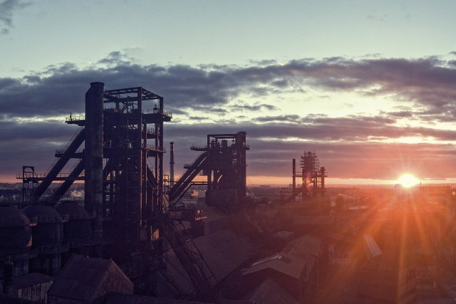Sunset at blast furnaces