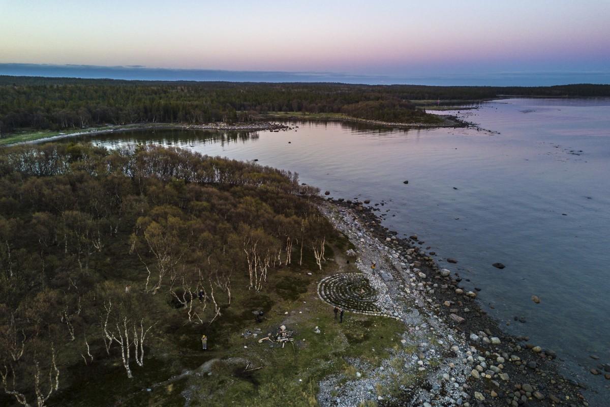 Stone labyrinth at the coast of Bolshoy Solovetsky island