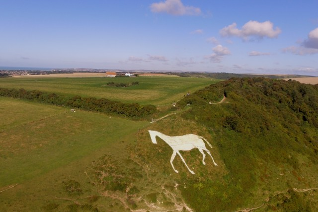 Giant White Horse on a hill