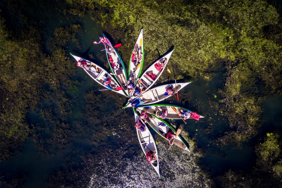 Exploring Danube Delta with canoes!