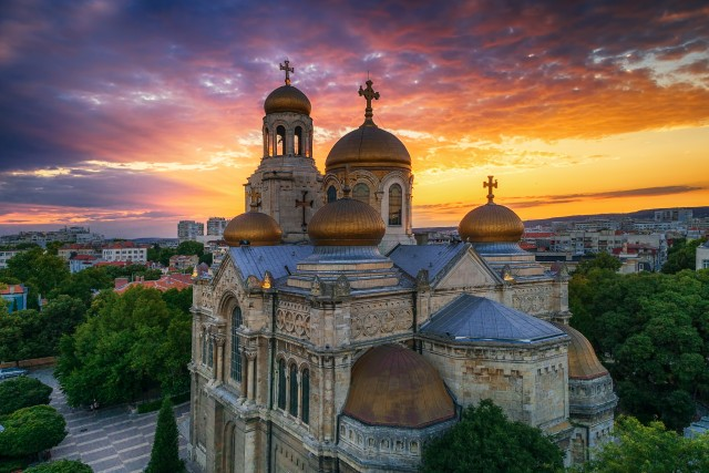 Aerial view of The Cathedral of the Assumption in Varna, Bulgari