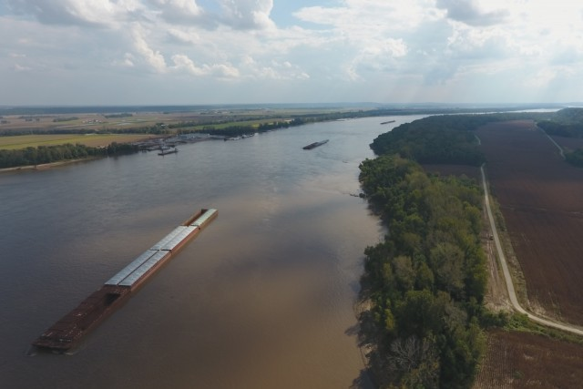 Barges on the Mighty Mississippi – South of St. Louis MO USA