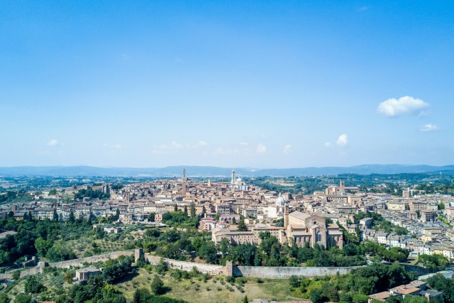 Aerial view of Sienna in Tuscany