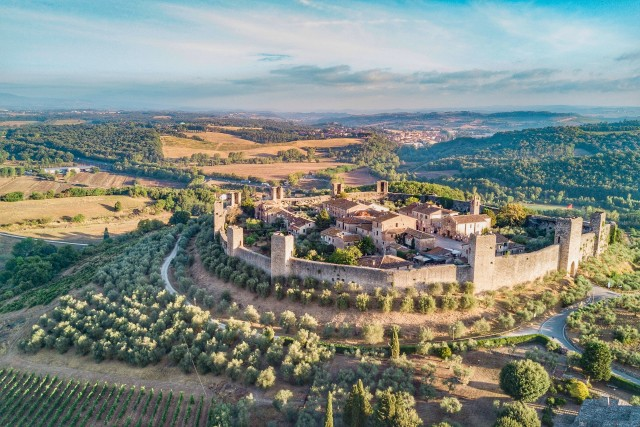 The walled town of Monteriggioni Tuscany Italy