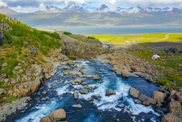 Waterfall, eastern fjords, Iceland