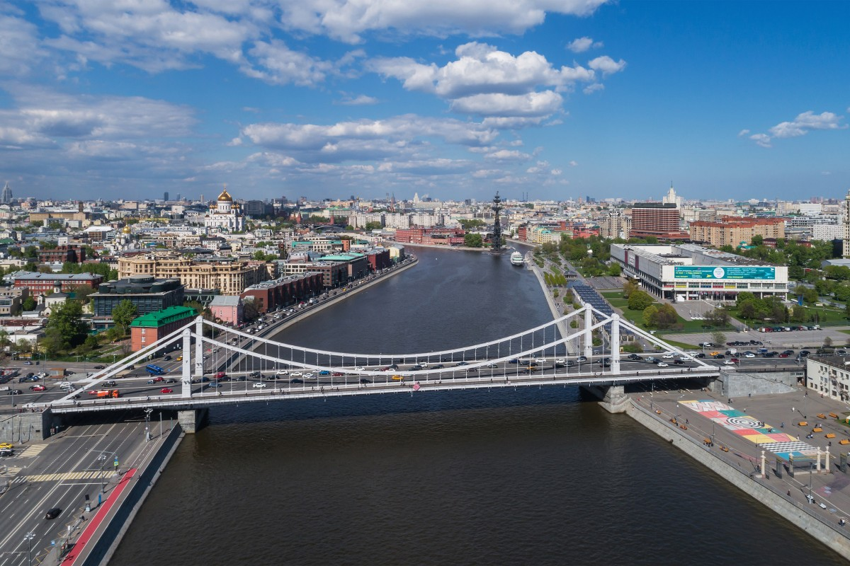 Krymsky Bridge over Moskva River in Moscow, Russia