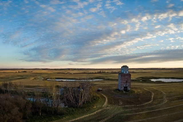 Prairie Farmscape at Sunset
