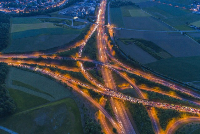 Highway Interchange at Night
