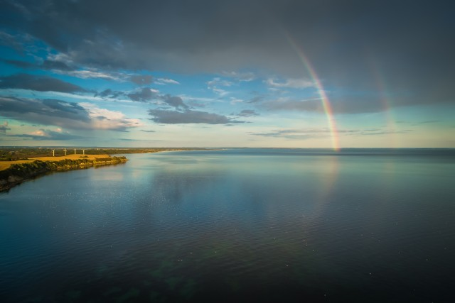 Rainbows over Karrebæksminde bay