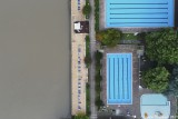 Graphisms with river and swimming pool