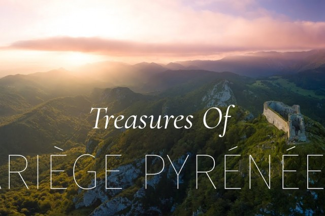 Montsegur, Devil's Bridge, Roquefixade. Treasures of Ariege Pyrenees by drone in 4K