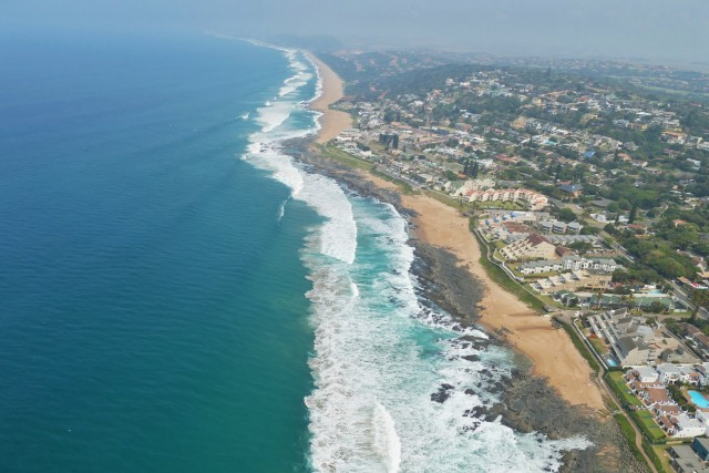 Ballito coastline from the air