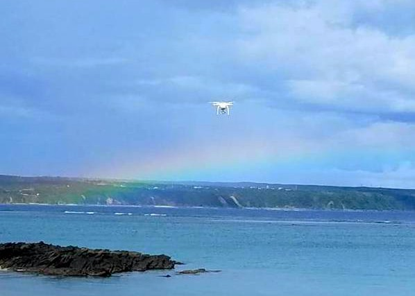 rainbow and drone