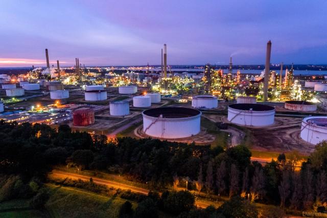 Esso refinery at night