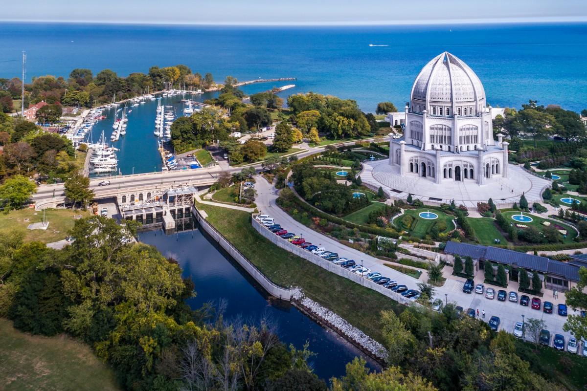 Lake Michigan and Bahai Temple
