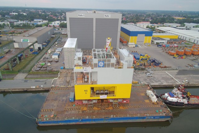 Substation for a German offshore windfarm just before dispatch, Bremethsven, Germany,
