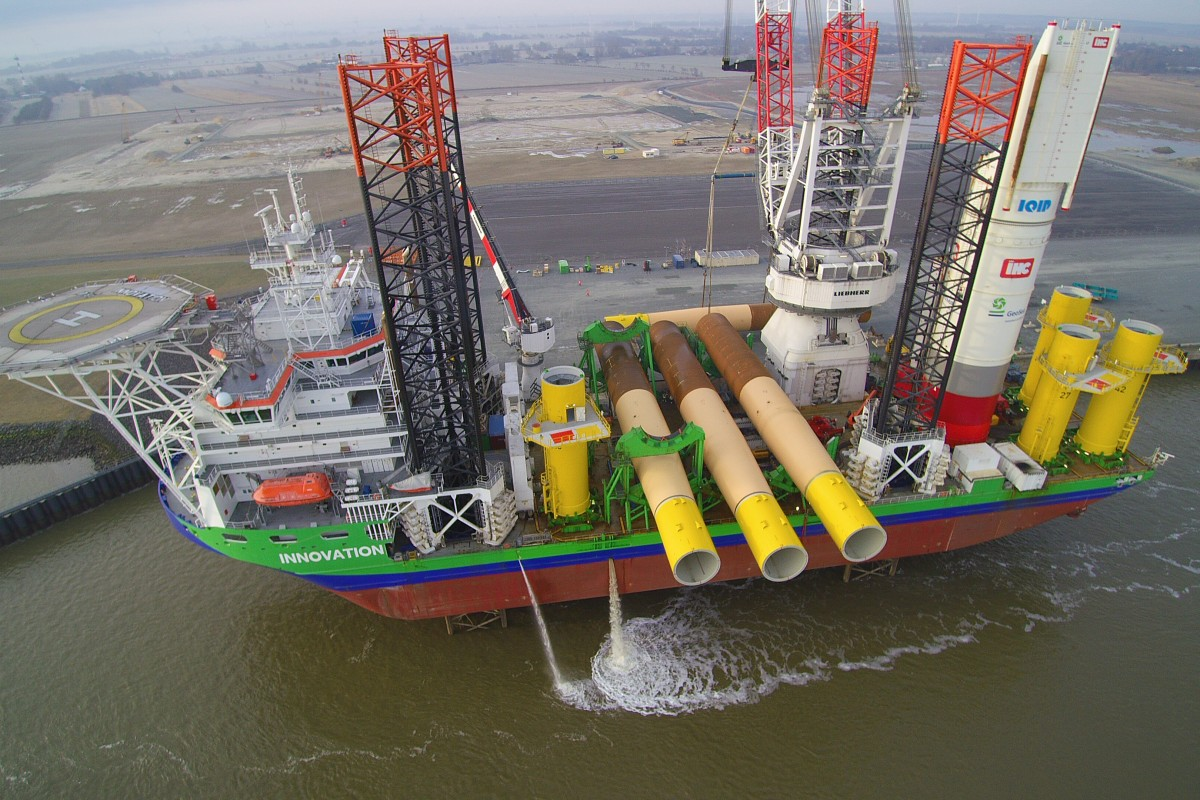 jack-up vessel INNOVATION loading foundations for NORDSEE ONE offshore wind farm