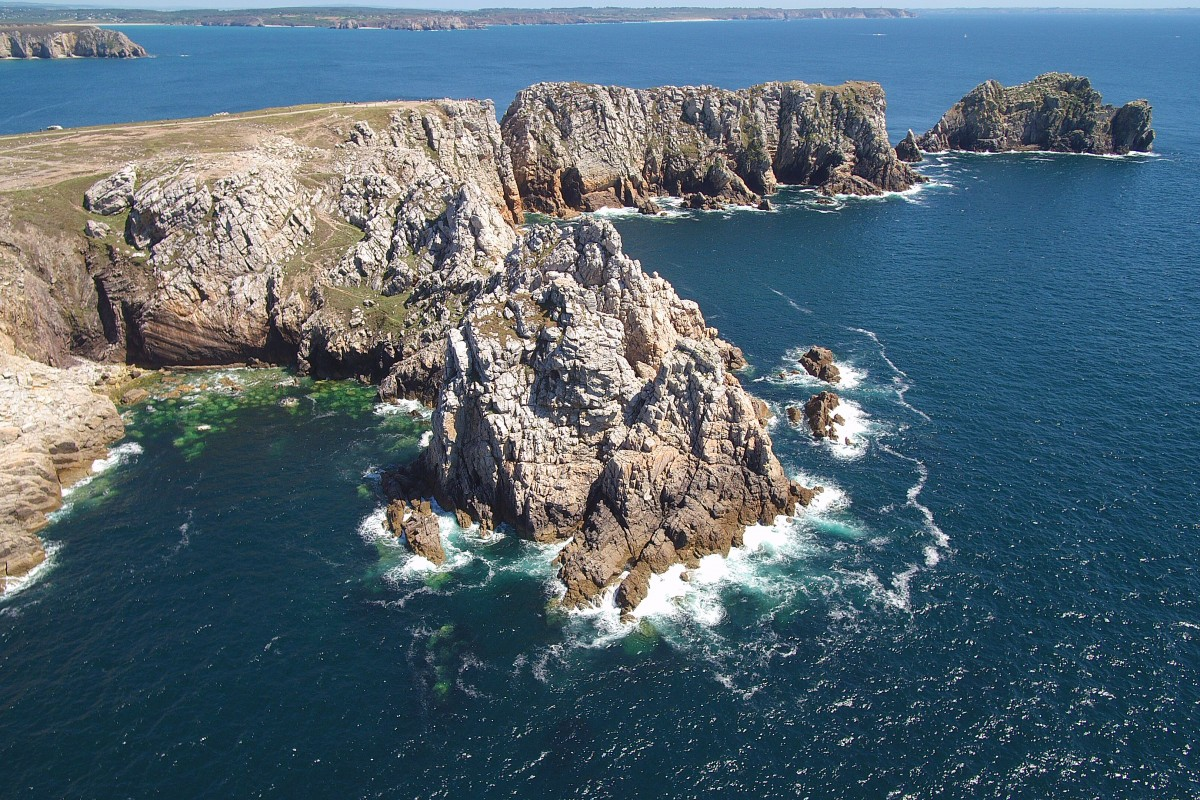 Camaret-sur-Mer, Finistère, Bretagne, France , aerial sea view on the rocks