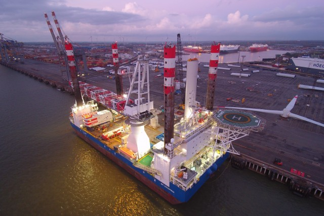 jack-up vessel MPI ENTERPRISE in BREMERHAVEN just after sunset