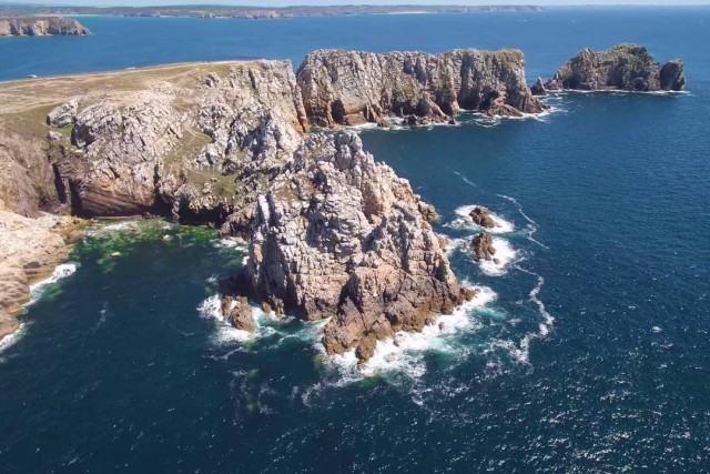 Camaret-sur-Mer Bretagne, France by drone. flight over the rocks