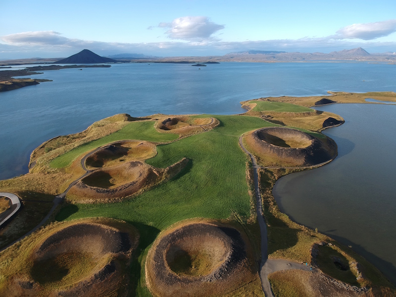 Pseudocraters in Myvatn Lake, Iceland