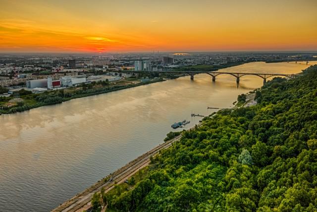 Oka river at sunset, Nizhny Novgorod city, Russia