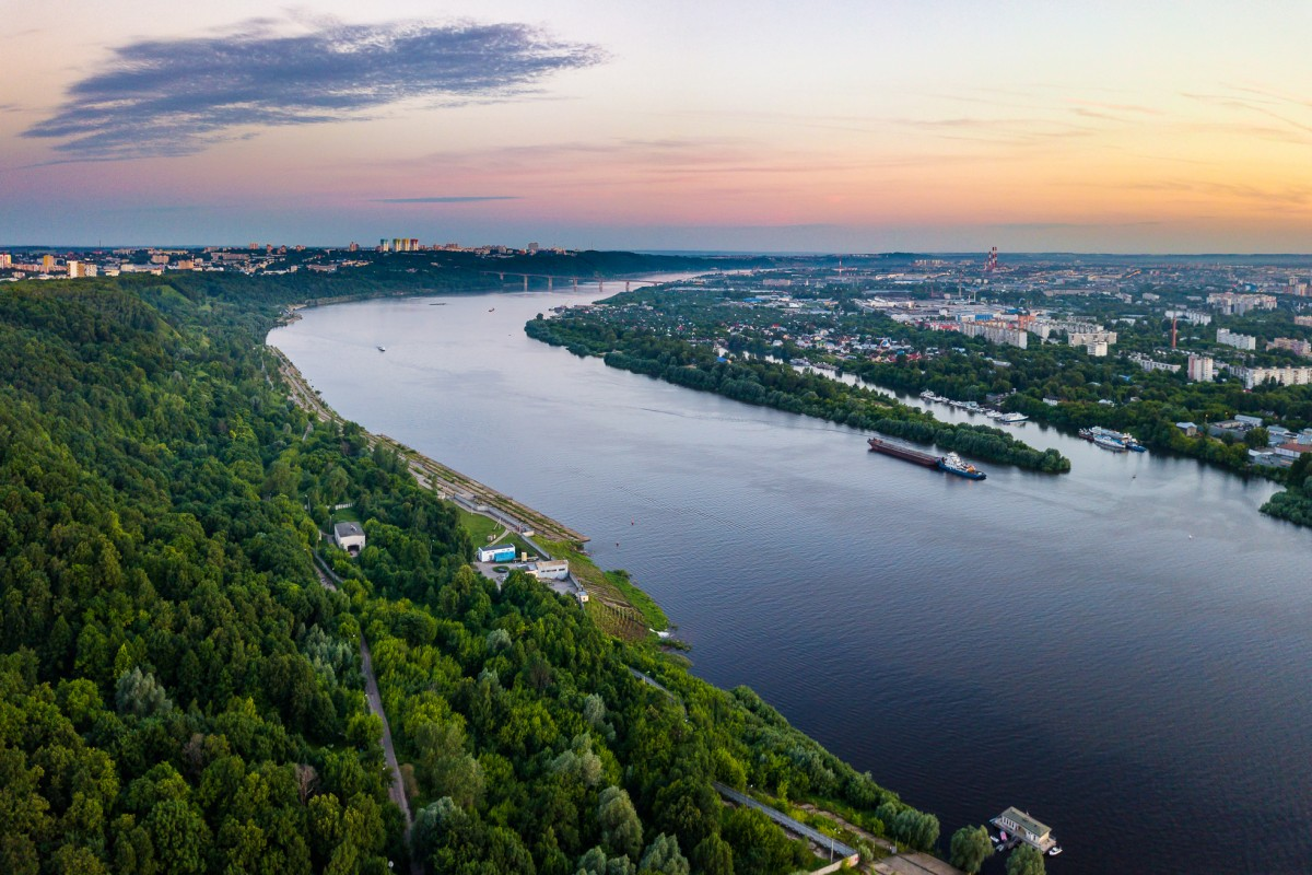 Oka river at sunset, Nizhny Novgorod city, Russia