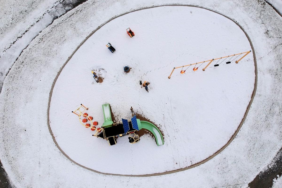 Park covered of snow, Quebec City, CANADA