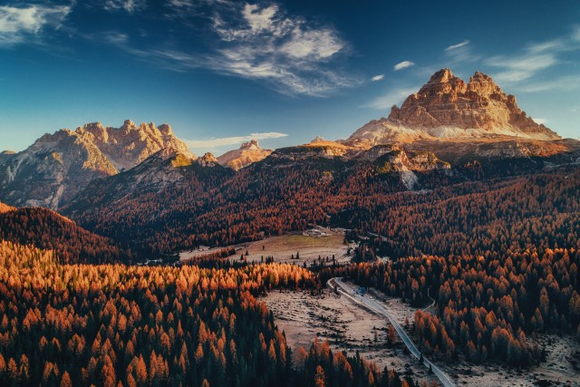 Aerial view of National Park Tre Cime di Lavaredo. Location place Auronzo, Misurina, Dolomiti alps, South Tyrol, Italy, Europe.