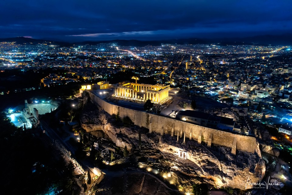Aerial view of Parthenon and Acropolis in Athens,Greece