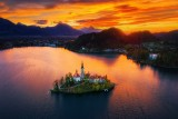 Aerial view of church of Assumption in Lake Bled