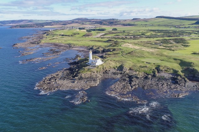 Aerial view looking north of Trump Turnberry Hotel and Golf Course and Turnberry Lighthouse