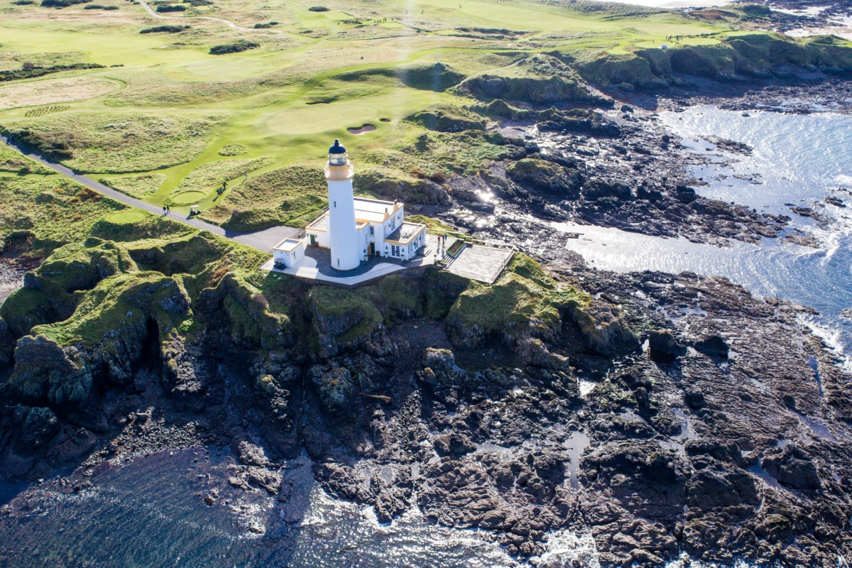 Aerial view of Trump Turnberry Hotel and Golf Course Lighthouse