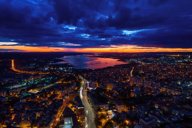 Aerial view of Varna at sunset.