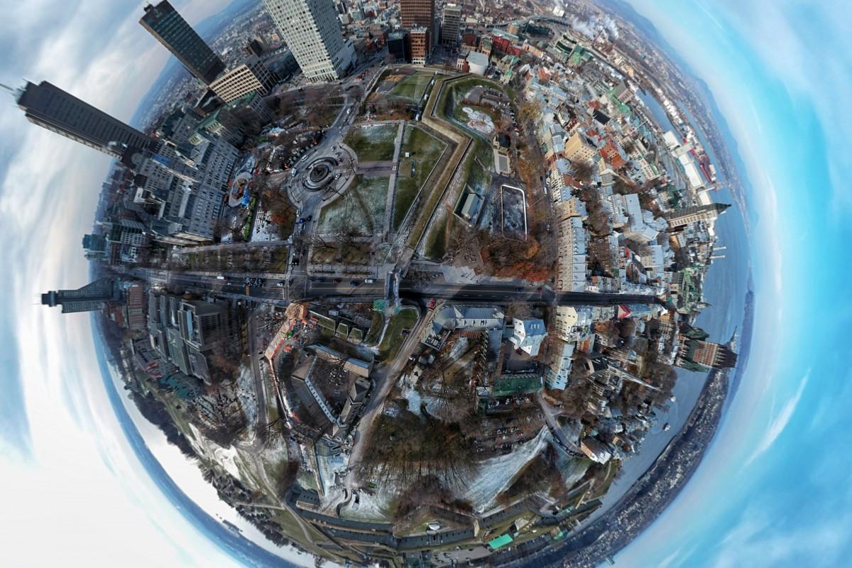 Tiny planet of Quebec City