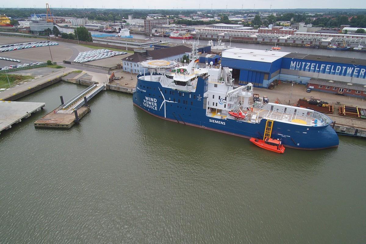 Muetzefeldwerft, WINDEA LA COUR , 1st offshore support operation vessel for maintenance of offshore wind farms