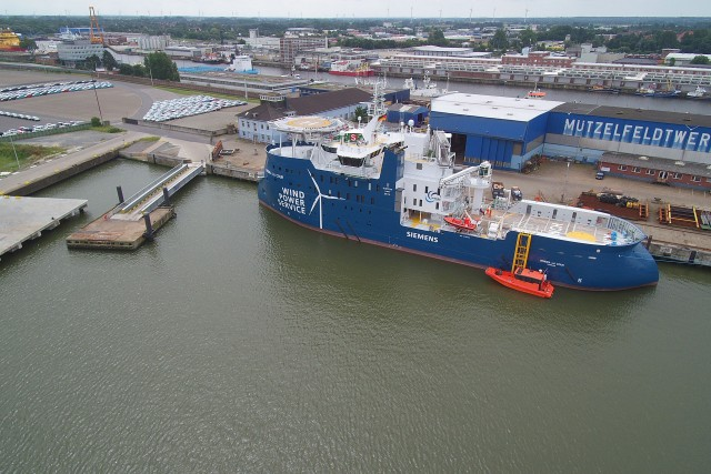 Muetzefeldwerft, WINDEA LA COUR , 1st offshore support operation vessel for maintenance of offshore wind farms
