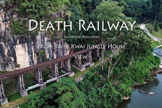 death railway bridge from River Kwai jungle house Sai yok thailand