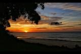 Magiques couleurs d'un coucher de soleil à Nyonié au Gabon.
