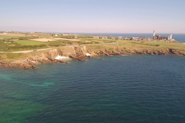 Phare St Mathieu, flight over the coastline by drone