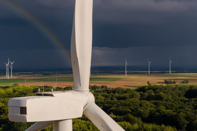 Windmill Turbine and rainbow