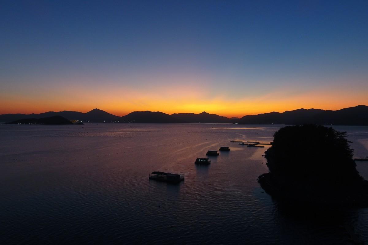 Sunset on floating home, Goeje Island, South Korea