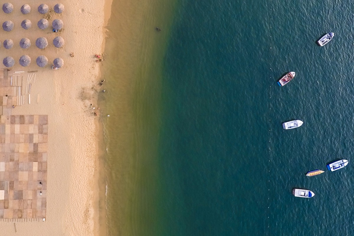 Aerial view of a beach in Acapulco