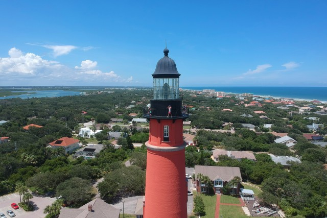 Beautiful aerial view of the historic Ponce de Leon Inlet Light lighthouse, in Ponce Inlet, Florida