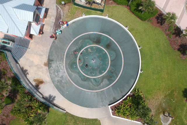 Aerial view of a fountain, at Daytona Beach, Florida.