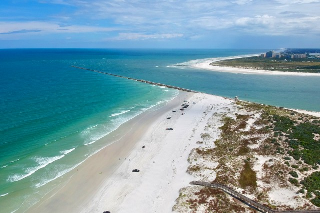 Beautiful aerial view of the ocean bay at Ponce Inlet, Florida, USA