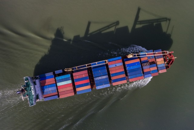 Container Ship and its shadow